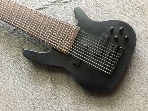 10 string Matte black Bass Neck Thru Body, 24 Frets, Maple Body China Electric Guitar Bass