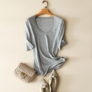 autumn new style 100% cashmere pullovers women casual crew neck short sleeve softness jumper tops