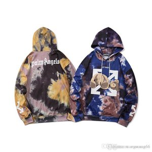 2020 European and American fashion brand guillotine bear tie-dye loose hooded sweater for men and women couples jackets.