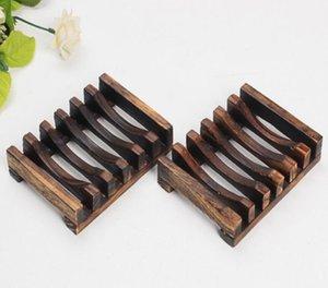 Pratos de sabão madeira carbonizada à prova de umidade Soap Titular Sabões Shelf Início Banho Soap armazenamento Suprimentos OOA9021