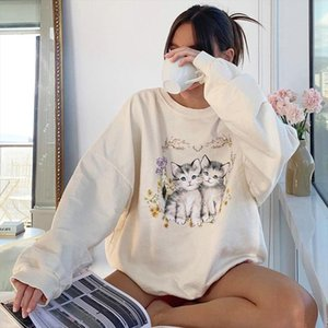 Casual Oversized Women Sweatshirts Fashion Home Clothes Cartoon Pattern Cute Long Sleeve Pullovers Autumn 2020 Drop Shipping