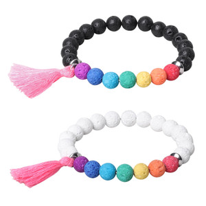 8mm colorful perfume volcanic lava stone bead strands bracelet Essential Oil Diffuser Bracelets stainless steel beads Tassel fashion jewelry