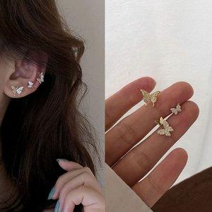 Sveglio elegante Cubic Zirconia clip Farfalla sul orecchini set per le donne Earcuff, colore dell'oro clip insiemi degli orecchini di cristallo borchie Bijoux