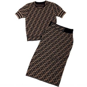 Curry FF lettre jacquard tricoté haut + tricot longueur du genou costume deux pièces à manches courtes pour les femmes jupe longue jupe longue Jacquard 2020 Summer