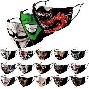 Clown Unisex Designer Máscara Facial Máscaras Partido Moda Máscaras 3D Impresso Dustproof Windproof lavável Halloween com substituível PM2.5 Filtro