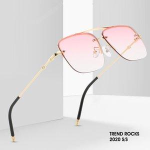 2020 Square Sunglasses Women High Quality Fashion Half frame Frame Brand Gradient Sunglasses For Women UV oculos feminino