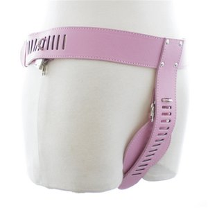 New Pink Leather Chastity and Lock Female Chastity Belt Erotic BDSM Bondage Sexy Flirting Sex Toys for Men Couple Y200616