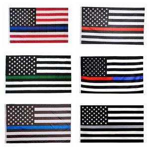 3x5FT 씬 블루 라인 레드 라인 플래그 (6 개) 스타일 폴리 에스터 국기 미국 경찰 소방 존중과 명예 배너 플래그 CCA12503의 60PCS