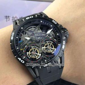 New Excalibur 46 Japon Miyota noir automatique Montre Homme Double bracelet en caoutchouc 47mm tourbillon grand cadran noir PVD acier montres sport Gents