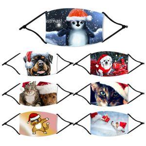 Máscaras Máscaras Navidad de la manera Impreso de Navidad de la cara del polvo anti animal de la historieta imprim boca cubierta lavable reutilizable con filtros FY4235
