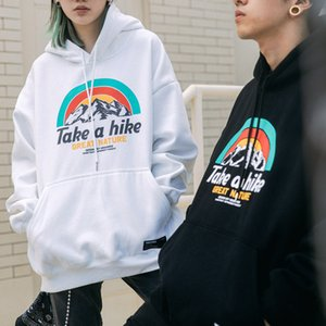 Hooded sweater Men The New rainbow printing Sweatshirt Casual All-match Plus velvet Korean version Couple outfit pullover wholesale