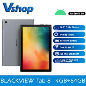 Tab original Blackview 8 10.1 polegadas Android 10,0 Google Play 4G Phone Call Tablets 4GB + 64GB 13.0MP câmera traseira 6580mAh Tablet PC