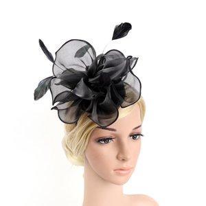 Women Church Hat Bridal Fashion Fascinator Cocktail Wedding Headband Elegant Hair Clip Headdress Accessories Organza Flower