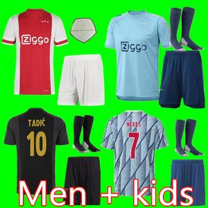 (20 개) (21) 아약스 FC 축구 유니폼 2020 2021 PROMES 알바 레즈 타 디치 NERES VAN 크는 남자 어린이 축구 셔츠 유니폼 키트 타이츠 아약스