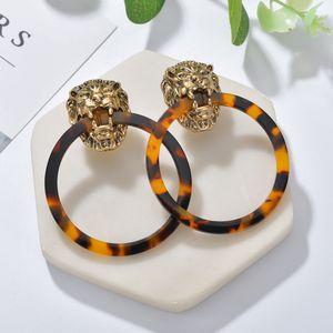 GEREIT 2019 Vintage Jewelry Acetate Acid Drop Earrings Personality Geometric Round Acrylic Earrings For Girls Lion Head Earrings