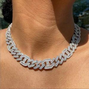Two Tone розы бога цвета 15мм шику 5a CZ Кубинский ссылка чокеровщик ожерелье замороженный из шику хип-хоп коренастый женщин кубинские ожерелья цепи
