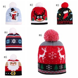 Kids Hat Pompom Santa Knitted Beanie Caps Crochet Children Warm Hats Winter Headgear Xmas Happy New Year Kids Gift 6 Designs LJJA2428