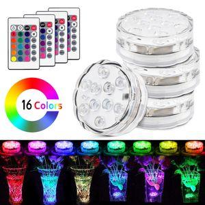 Luci sommergibili LED con telecomando impermeabile Underwater Lights a pile Decorazione per acquario Stagno Pool Vaso da festa di nozze