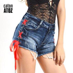 catonATOZ 2215 Frauen High Waist Shorts Damen reizvolle Baumwolle Side Stripe Lace UP Shorts Denim-Hosen für Frauen zerrissene