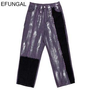 Ink Graffiti Mens Jeans Baggy Style Denim Streetwear Winter Straight Leg Trousers Hip Hop Jean Pants Casual Full Length