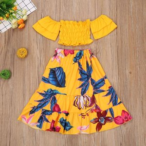 2020 New Fashion Casual 1-6Y Holiday Baby Girls Clothing Suit Off Shoulder Ruffle Sleeve T Shirts Tops Floral A-Line Skirts Set
