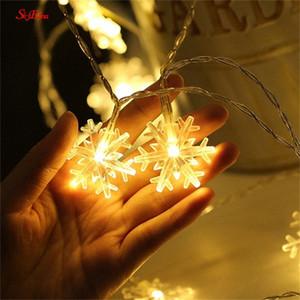 10M / 100LED Noel ağacı kar tanesi Işık İp Perde Dize Aydınlatma Parti Ev Düğün Bahçe Garland Süsleri 5zMM252 5wka #