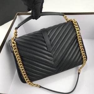 عالية الجودة 1732 ريال جلد 487212 سلاسل سيدة حقيبة يد ذهبية فضية واحدة الكتف حقيبة سيدة المائل حقيبة شحن مجاني 32CM