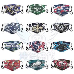 2020 New Fashion Designer Masques anti-poussières du football équipe Bengals Ravens Jaguars Titans Chiefs Steelers Broncos Réutilisable extérieur Cyclisme Masque Visage