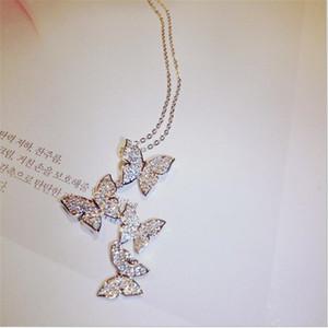 Sıcak Satış Yeni Geliş Klasik Moda Takı 925 SilverRose Altın Dolgu açacağı Beyaz Safir cz Elmas Kelebek kolye