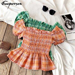 Gooporson del niño de la blusa de las muchachas de la colmena de la camisa tela escocesa del verano de la cintura Colección Camisa linda coreana de las niñas de ropa de moda de vestuario LJ200813