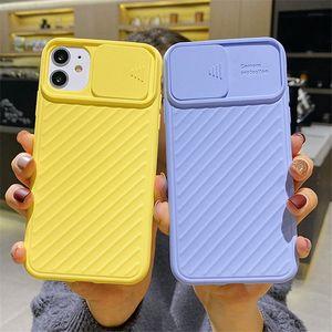 Ультра тонкий телефон случая мягкая TPU крышка для iphone 12 11 Pro X XS Max 7 8 Plus с камерой раздвижной двери Protector