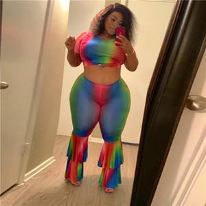 Plus Size Frauen Kleidung Set Rainbow Color Short Sleeve O Ansatz Crop Top Flare Pants Sets Plus Size Frauen Zweiteiler Outfits