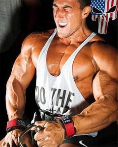 Muscleguys Marca ropa de deporte Chaleco gimnasios singlete Y Volver Camiseta interior sin mangas de los hombres de culturismo muscular Canotta Stringer, tops MX200815