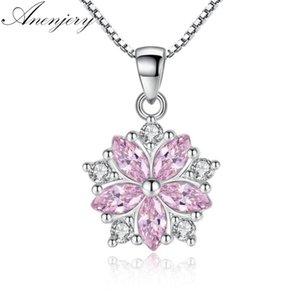 Anenjery 925 Sterlingsilber-Rosa-Raum-Kristall Zircon Kirschblüten-Blumen-Kette Halskette für Frauen-Mädchen-Halsband S-N223