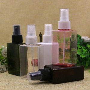 40pcs 100ml Mist Sprayer Pump White Plastic Bottles 100 cc Fine Mist Spray Perfume Container Square Empty Cosmetic Bottles Tin