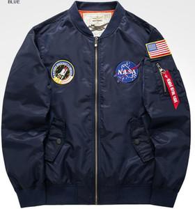 새로운 파일럿 자켓 코트 얇은 또는 두꺼운 폭격기 MA1 남자 폭탄 자 자수 NASA 자수 야구 코트 남성 코튼 패딩 된 옷 M-5XL