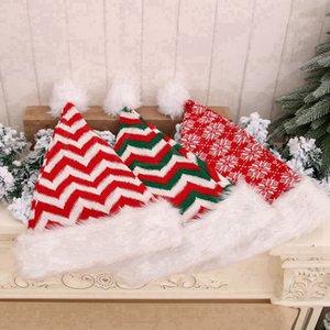 De punto de fibra larga de lana a rayas de Navidad sombrero de la felpa de Navidad para adultos sombrero sombreros del partido de Navidad Decoración de Navidad regalos RRA3442
