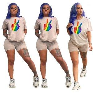 Drucken Frauen Tracksuits Crew Neck Short Sleeve kurze Hosen Casual Weibliche Sommer-Kleidung Fashion Pure Color