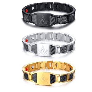 Link, largura de cadeia 12mm pulseira magnética masculina de aço inoxidável e em branco ímã de fibra de carbono