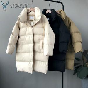 HXJJP spessa giacca Donna Inverno 2019 della tuta sportiva cappotti Femminile lungo Casual Giubbotti pesanti Oversize puffer Parka bollato CX200814