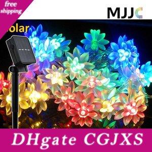 Noel Düğün için su geçirmez Güneş Açık Lotus Flower Işıklar 30 50 Ledler Güneş Enerjili Peri Işıklar Çiçeği Dekoratif Işık