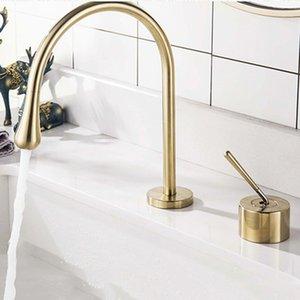 Brushed Gold / Chrom / Schwarz Badezimmer-Bassin-Hahn Zwei Löcher Split-Hahn-Deck montiert Heiß Kalt Mixer Basin Taps 360 drehender
