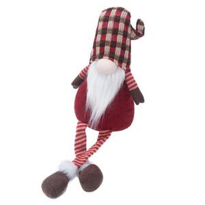 Natal listra sem cara Standing Dolls Nordic longleg Papai Noel Ornamento Decoração de Natal Sem cara da boneca Pendant AHB2968
