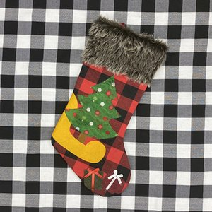 Plush Christmas Stocking Gift Bags Large Size Latticed Candy Bag Xams Tree Decoration Socks Ornament Christmas Gift Wrap HWF2040