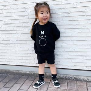 Camisolas dos miúdos Rapazes Meninas Letter Moda Impresso Long Sleeve Pullover Tops Crianças Casual solto na moda Moletons Kids Clothing