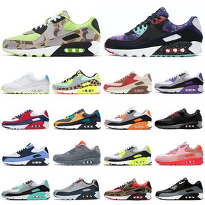 air max 90 airmax 90s zapatos corrientes de los hombres de las mujeres Triple Negro de neón Naranja Azul para hombre entrenadores deportivos zapatillas de deporte 36-45