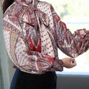 2020 плюс размер винтажный печатный блузка Celmia женщин осенью вершины мода высокой шеи фонарик рукав рубашки повседневная бабочка галстук сатин