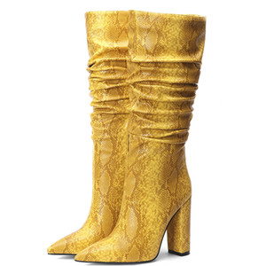 Hot Sale- Solid color Zipper boots Retro Women Shoes Spring Leather Snakeskin Thick Heels Boots Mid-calf Pointed Toe Sexy Popular 11cm Boots
