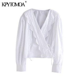 KPYTOMOA Mulheres 2020 Moda Cutwork Bordado Enrole recortada Blusas Vintage Long Sleeve secundários fêmeas amarradas Shirts Tops Blusas Chic