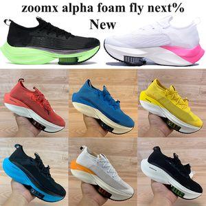 Zoomx ألفا رجل يطير التالي٪ الاحذية النساء متماسكة المدربين الأسود الكهربائية الأخضر فولت المالكة البرتقال الأبيض ولدت بجولة احذية شبكة الصفراء